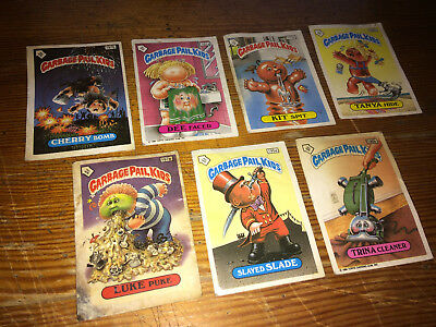 7 x GARBAGE PAIL KIDS TRADING CARDS - 1980s/Topps/UK Editions/With Backs/GC