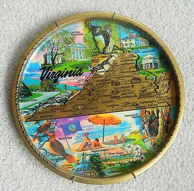 Vintage Virginia VA State Metal Tin Collector Souvenir Plate Tray
