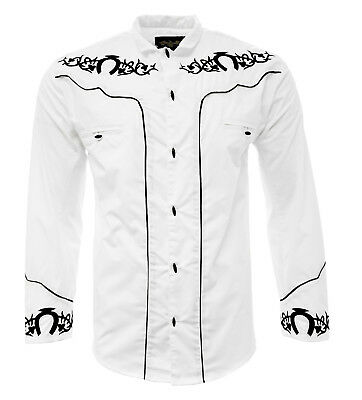 Men's Charro Shirt Camisa Charra El General Western Wear Color White Long Sleeve