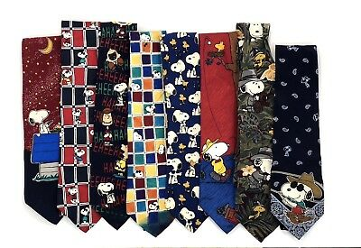 Lot of 8 Peanuts Mens Ties - Snoopy - Charlie Brown - Vintage