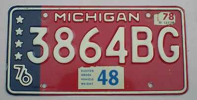 1976 - 1978 Michigan  Full Year Commercial Truck License Plate (De Tour)