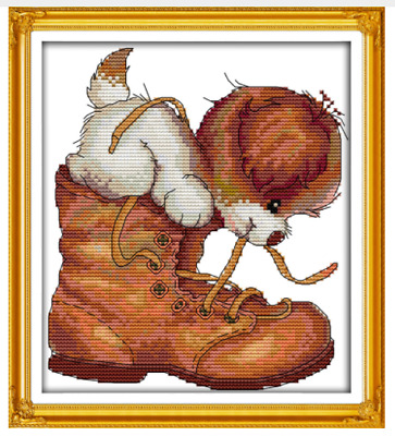 Playful puppy with boot 14ct Counted Cross Stitch kit  21cm X 25cm