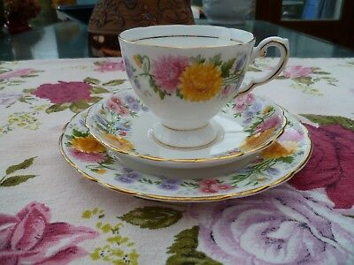 Pretty Vintage Tuscan English China Trio Tea Cup Saucer Plate September Song