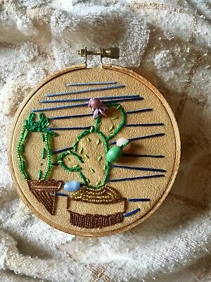embroidery of cacti made by me. 4inch