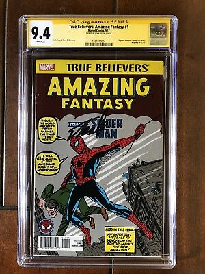 True Believers Amazing Fantasy 15 Cgc 9.4 Signed By Stan Lee Key Issue