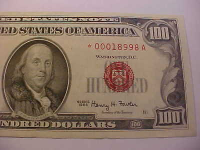 1966 $100 Star Note Red Seal Crisp Uncirculated Rare Note