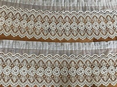 VINTAGE DuTch Lace Lace Cream Valance CURTAIN SHABBY COTTAGE CHIC French Set 2