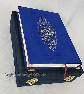 "The Holy Quran Koran 20*14cm Arabic With Navy Plush Velvet Box 11""  Islamic Gift"