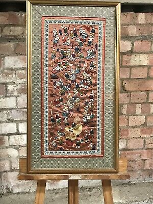 Stunning Chinese Silk Embroidered Panel in a Gilt Frame