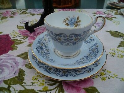 Lovely Vintage Paragon English China Trio Tea Cup Saucer Provincial Blue Rose