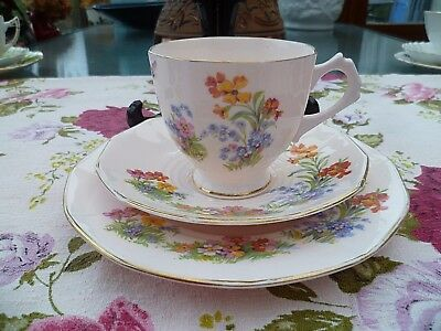 Vintage Tuscan China Trio Tea Cup Saucer Plate Pink Floral Butterfly 4837