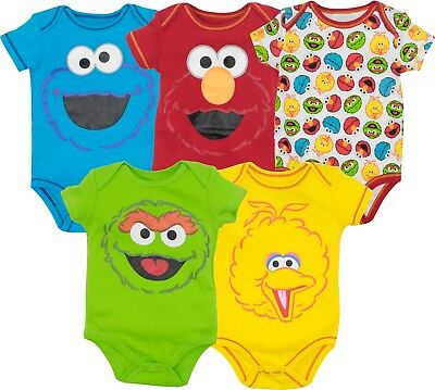 Sesame Street Baby Boy Girl 5 Pack Bodysuits Elmo Cookie Monster Oscar Big Bird