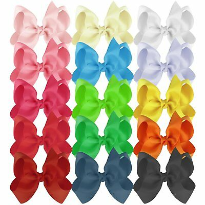 Hair Bows Girls Ribbon Lot 6 Inches Large Alligator Clips Mix Colors 15 Pieces