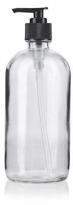 16 oz Clear Boston Round Glass Bottle with Black Lotion Pump + Labels