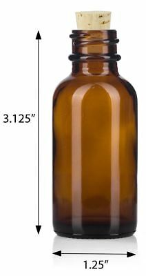 1 oz Amber Glass Boston Round Bottle with Cork Stopper + Funnel and Labels