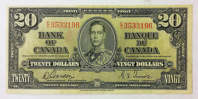 Bank of Canada 1937 $20 banknote  in VF condition  B118