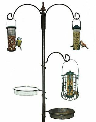 Deluxe 3 Arm Metal Garden Wild Bird Care Traditional Feeding Station Feeder Bath