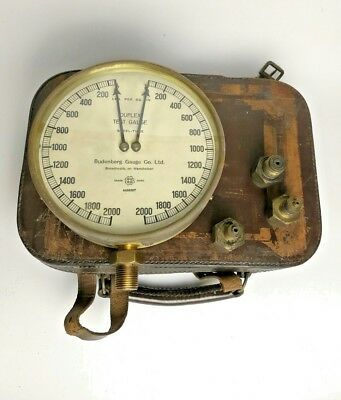 Vintage Duplex test gauge Steel tube Budenberg brass and comes in leather case.