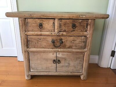 Asian Chinese wooden cabinet. Cupboard. 3 drawer, 2 door