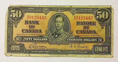 Bank of Canada 1937 $50 B/H prefix Gordon/towers VG condition  B128