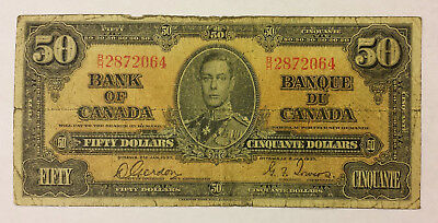 Bank of Canada 1937 $50  Gordon/towers VG condition  B129