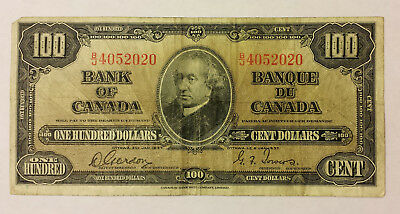 Bank of Canada 1937 $100 Gordon/towers in F condition  B130