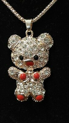 Teddy Bear Necklace with long Chain -Rhinestone Crystal