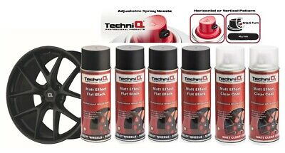 TechniQ MATT BLACK Alloy Wheel Spray Paint + MATT Effect Clear Lacquer 6 CANS