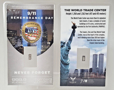 9/11 Remembrance Day PURE 99.9 Platinum 1/8 Gram Bullion Bar COA NEVER FORGET! <