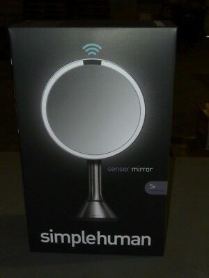 "NEW Simplehuman 8"" Lighted Sensor Makeup Mirror 5x Magnification (ST3026)"