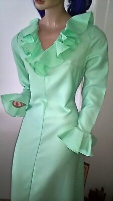 Vintage 70s spearmint green ruffle trimmed bridesmaid prom dress Size 12/M