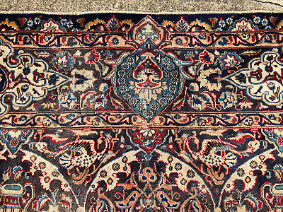 9x12 HAND KNOTTED BLUE PERSIAN RUG ANTIQUE IRAN HANDMADE WOOL RUGS KASHMAR 10x13