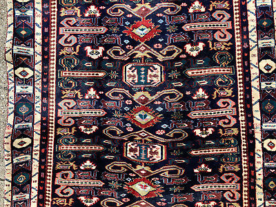 3x9 ANTIQUE RUNNER RUG BLUE TEAL CAUCASIAN PERSIAN HAND KNOTTED IRAN 4x9 3x10