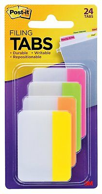 Post-it Tabs, 2 in., Solid, Assorted Bright Colors, Durable, Writable, Repositio