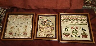 Three Framed 19th Century Samplers in Super Condition - A1 Colour Retention