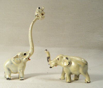 Vintage Lead Diecast Elephant Family Baby on Long  Raised Trunk