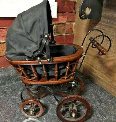Vintage Wood Metal Victorian Baby Doll  Buggy Carriage Stroller ? Amish