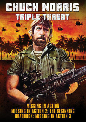 Chuck Norris:Triple Threat -  Missing in Action I, II, III (DVD)Brand New