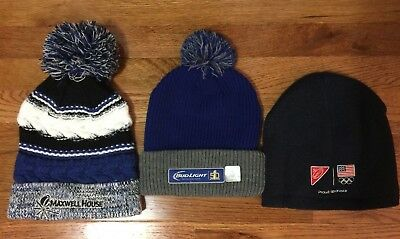 NEW Winter Hats Maxwell House & Bud Light Superbowl Beanie Pom Pom Hats Unisex