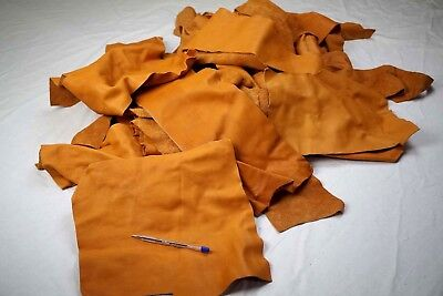 Light Tan Cowhide pieces scrap leather 2-3 hands sized Cow hide off-cuts