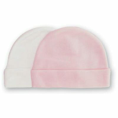 Playette Newborn Bamboo Caps Hats 2 Pair Girl Pink/white