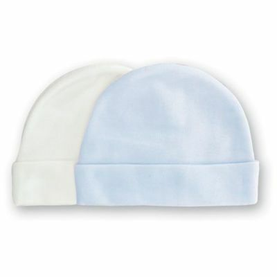 Playette Newborn Baby Bamboo Caps 2 Pair - Boy Blue/white