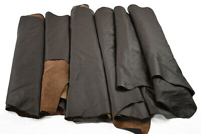 Earth tone Cowhide Top grain upholstery scrap leather pieces Hand size or larger