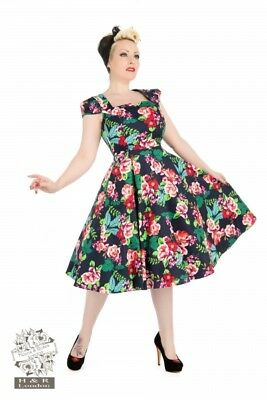 1d36f0e096 H & R London Retro Vintage Pinup Rockabilly 1950s Housewife Floral Easter  dress