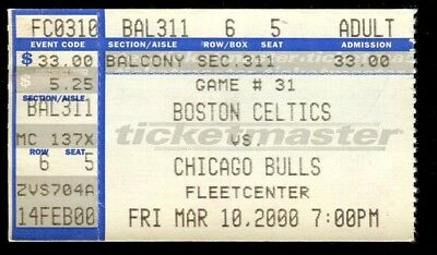 Ticket Basketball Boston Celtics 2000 3/10 Chicago Bulls Paul Pierce