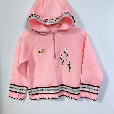 Vintage Toddler Girls Pink Kawaii Bee Sweater Hoodie 80s Retro Spring Easter 2t