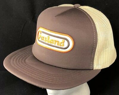 Vtg Gasland Gas Station Hat SnapBack Mesh Trucker Cap Oil Advertising Patch 80s