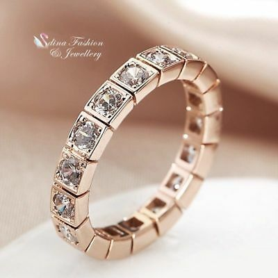 18K Rose Gold Filled Diamond Studded Round Cut Square Wedding Band Ring
