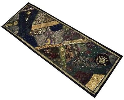 """60"""" Crazy Quilt Heavily Beaded Sequin Sari Vintage Décor Tapestry Wall Hanging"""