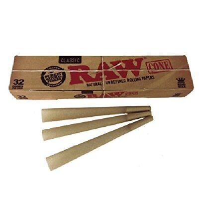 Raw Classic Natural Unrefined King Size PreRolled Rolling Paper Cones 32 Per Box